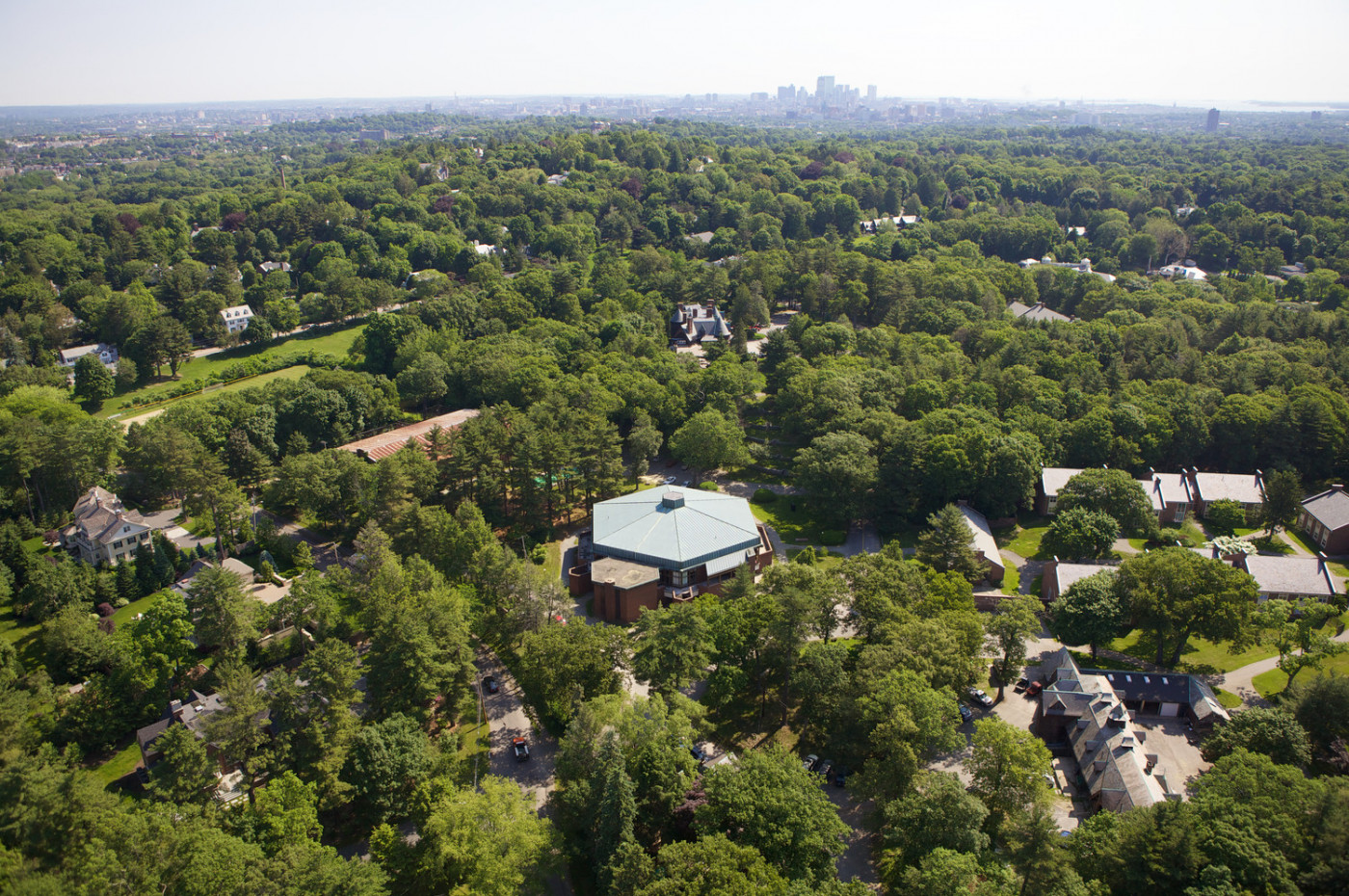 Aerial view of Pine Manor College with Kings Boston